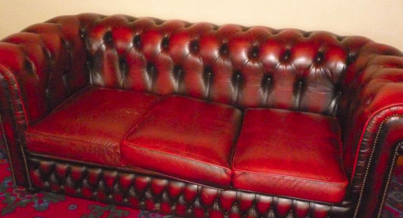 Leather Chesterfield Sofa Restoration before