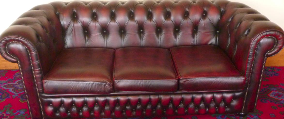 Leather Chesterfield Sofa Restoration after
